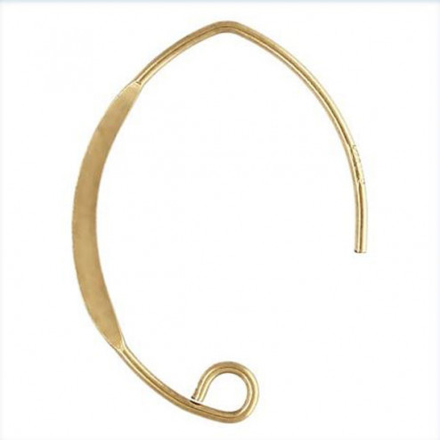 14 K Gold Filled lange Oorhaak, plat V-model, 26 x 17 mm, per paar