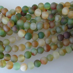 Agaat, 6 mm, frosted, groen mix, per streng