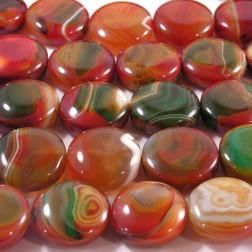 Agaat, munt, 25 mm, rood-groen, per streng