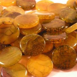 Agaat, munt, 30 x 6 mm, geel, per streng