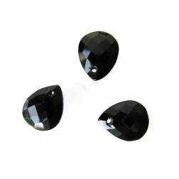 Briolette, onyx, gefacetteerd, 9 x 11 mm, per stuk