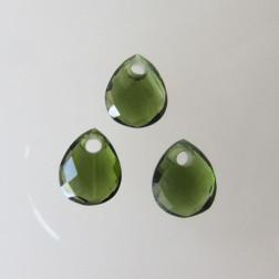 Briolette, groene toermalijn, gefacetteerd, 9 x 11 mm, per stuk