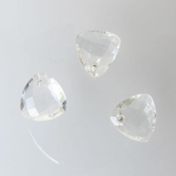 Briolette, kristal, gefacetteerd, driehoekig, 10 x 10 mm, per stuk