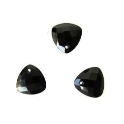 Briolette, onyx, gefacetteerd, driehoekig, 10 x 10 mm, per stuk