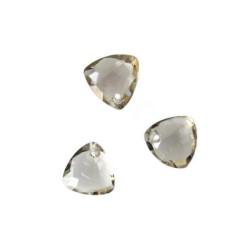 Briolette, rookkwarts, gefacetteerd, driehoekig, 10 x 10 mm, per stuk