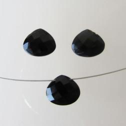Briolette, Onyx, gefacetteerd, 12 x 10 x 6 mm, per stuk