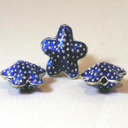 Cloisonné zeester, 18 mm, kobaltblauw, verpakt per 10 stuks