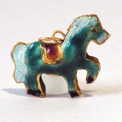 Cloisonné paard, 30 x 23 mm, turkoois, verpakt per stuk