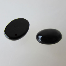 Cabochon ONYX, 18 x 13 mm, zwart, verpakt per stuk