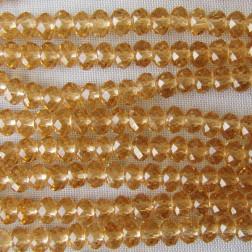 Swarovski-Style Kristalkraal, licht topaz, facetted, rondel, 3 x 4 mm, per streng