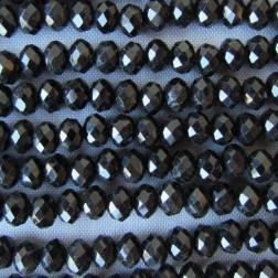 Swarovski-Style Kristalkraal, Jet, facetted, rondel, 3 x 4 mm, per streng