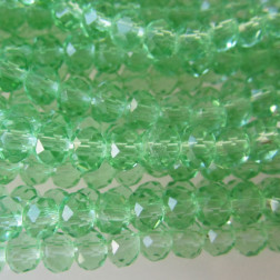 Swarovski-Style Kristalkraal, Peridot, facetted, rondel, 3 x 4 mm, per streng
