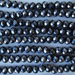Swarovski-Style Kristalkraal, Metallic Black, facetted, rondel, 3 x 4 mm, per streng