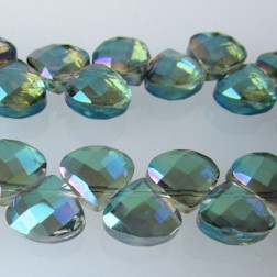 Swarovski-Style Kristalkraal, Chrysolite AB, facetted, Teardrop, 9 x 10 mm, per streng