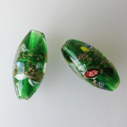 Grote glaskraal met groot gat, 45 x 22 mm, groen met millefiori, per stuk
