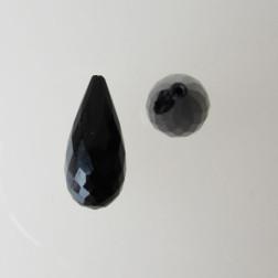 Halfdrilled ONYX kraal, drop, 20 mm, gefacetteerd, per stuk