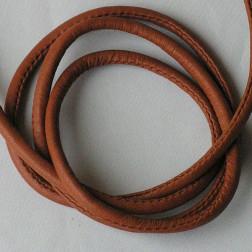 Gestikt Leer, bruin, 4 x 6 mm, per 100 cm