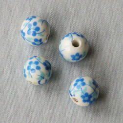 Porseleinen kraal, rond, 10 mm,  blauw-wit, per stuk