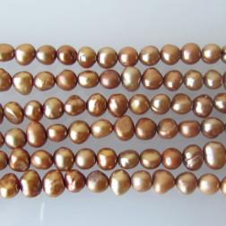 Zoetwaterparel, nuggets, beige-bruin, 4.5 - 5 mm, per streng