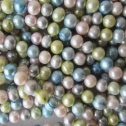 Zoetwaterparel, mixed kleuren, potato, 9-10 mm, per streng