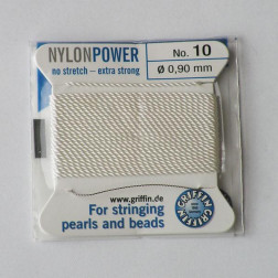 Griffin Nylon Power, wit, 0.90 mm  x 2 m, met naald