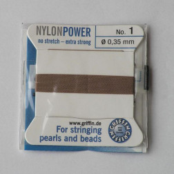 Griffin Nylon Power, beige, 0.35 mm  x 2 m, met naald