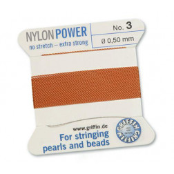 Griffin Nylon Power, carneool, 0.50 mm  x 2 m, met naald