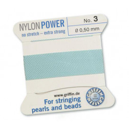 Griffin Nylon Power, lichtblauw, 0.50 mm  x 2 m, met naald