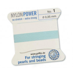 Griffin Nylon Power, lichtblauw, 0.35 mm  x 2 m, met naald