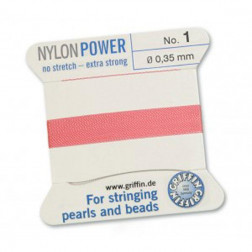 Griffin Nylon Power, roze, 0.35 mm  x 2 m, met naald