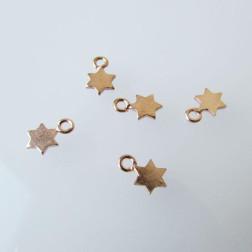 Roze gouden bedel, sterretje, 7.5 x 5 mm, per stuk