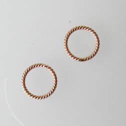 Roze gouden ring, twisted, 10 mm, 1 micron plated, per stuk