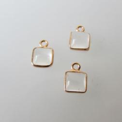 Roze gouden bedeltje, 6-6.5 mm, KRISTAL, per stuk