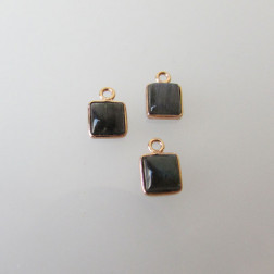 Roze gouden bedeltje, 6-6.5 mm, LABRADORIET, per stuk