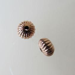Roze gouden kraal, gestreept, 9 x 6 mm, per stuk