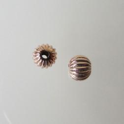 Roze gouden kraal, gestreept, rond, 6 mm, per stuk