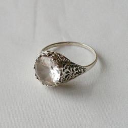 Sterling zilveren (925) ring, geslepen kristalsteen, maat 18.5