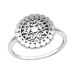 Sterling Zilveren (925) ring, bewerkte schotel 14 mm, maat 16.5