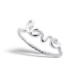 Sterling zilveren (925) ring, Love, MAAT 16.5, per stuk