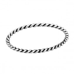Sterling zilveren (925) ring, twisted, oxidated, maat 16.5