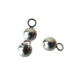 Edelstalen RVS bedeltje (316), bolletje, 6 mm, per stuk
