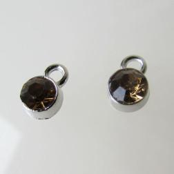 Edelstalen bedel, kristal, topaz, 6 mm, verpakt per stuk