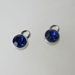 Edelstalen bedel, kristal, kobalt blauw, 6 mm, verpakt per stuk