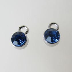 Edelstalen bedel, kristal, blauw, 6 mm, verpakt per stuk