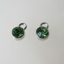 Edelstalen bedel, kristal, lime groen, 6 mm, verpakt per stuk