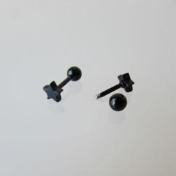 RVS Piercing Oor Ster, Zwart, 6 mm, per stuk