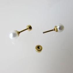 Verguld Edelstalen Oorpiercing, witte Glasparel, verpakt per stuk
