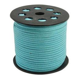 Suedekoord, 3 mm, turquoise, per rol van 91 meter