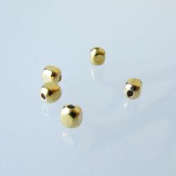 22 K Goud vermeil kraal, kubus, 3 x 3 x 3 mm, verpakt per stuk