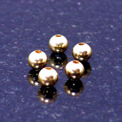 22 K Goud vermeil kraal, 4 mm, verpakt per stuk
